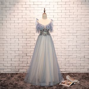 Charming Sky Blue Evening Dresses  2019 A-Line / Princess Spaghetti Straps Bow Pearl Lace Flower Short Sleeve Backless Formal Dresses