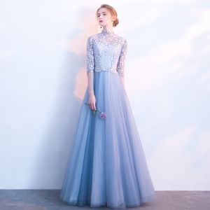 Chic / Beautiful Sky Blue Prom Dresses 2018 A-Line / Princess Lace Flower High Neck 1/2 Sleeves Floor-Length / Long Formal Dresses