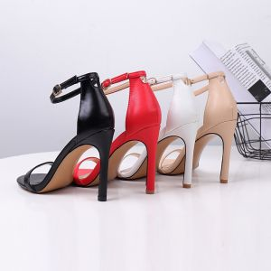 Modest / Simple Black Casual Womens Sandals 2020 Ankle Strap 10 cm Stiletto Heels Open / Peep Toe High Heels