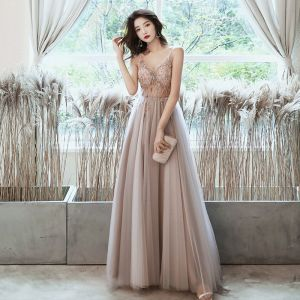 Fashion Nude Prom Dresses 2020 A-Line / Princess Spaghetti Straps Beading Rhinestone Sequins Sleeveless Backless Split Front Floor-Length / Long Formal Dresses