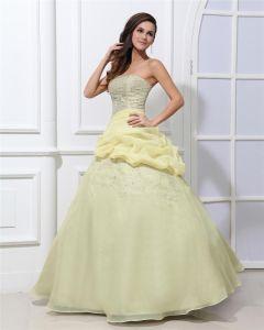 Satin Perles Etage Longueur Quinceanera Robes De Bal Sans Bretelles