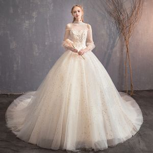 Chic / Beautiful Champagne See-through Wedding Dresses 2019 Ball Gown High Neck Puffy 3/4 Sleeve Backless Glitter Star Cathedral Train Ruffle