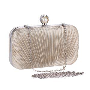 Modest / Simple Beige Pearl Rhinestone Metal Clutch Bags 2018