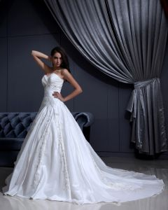 Satin Applique Beaded Ruffle Sweetheart Chapel A-line Bridal Gown Wedding Dress