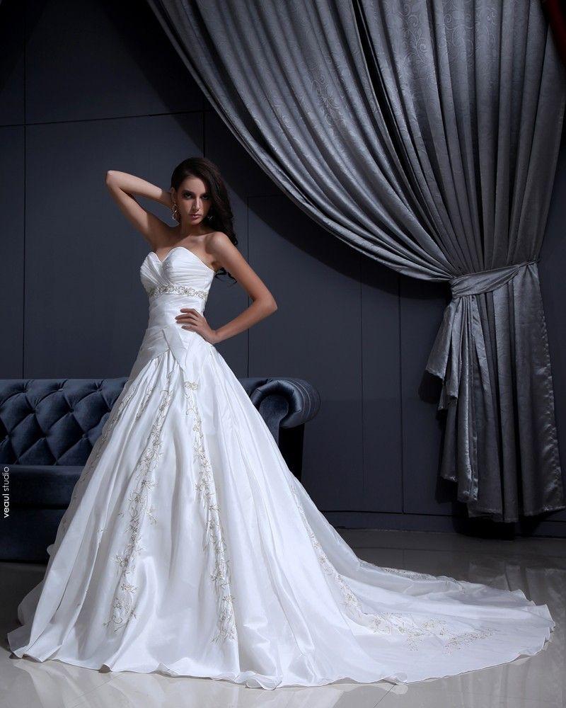Satin Applique Beaded Ruffle Sweetheart Chapel A-line Bridal Gown Wedding Dress