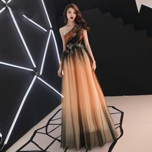 Elegante Orange Abendkleider 2019 A Linie One-Shoulder Ärmellos Applikationen Spitze Perlenstickerei Lange Rüschen Rückenfreies Festliche Kleider