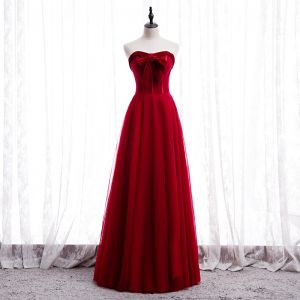Affordable Red Prom Dresses 2020 A-Line / Princess Sweetheart Sleeveless Floor-Length / Long Ruffle Backless Formal Dresses