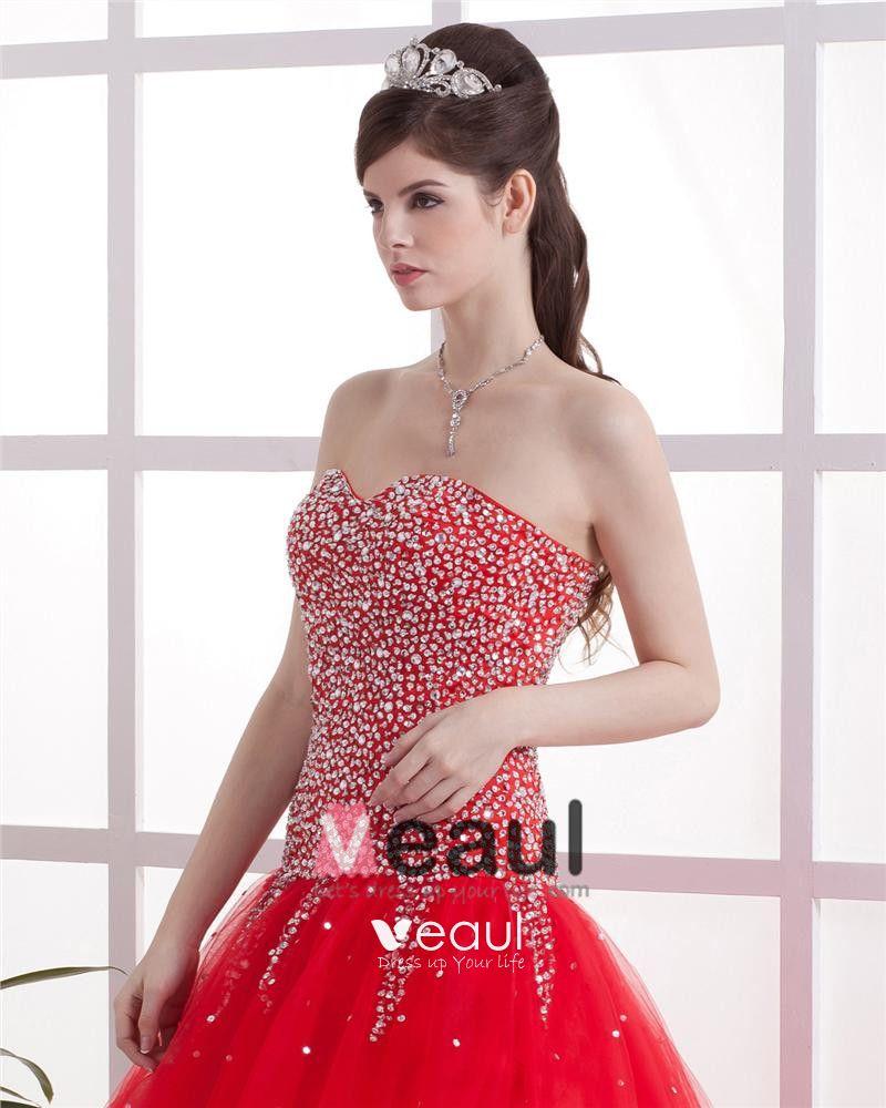 Tulle Beading Sweetheart Brush Train Prom Dresses