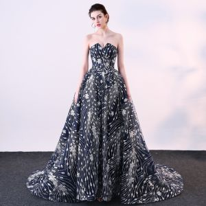 Sparkly Navy Blue Formal Dresses 2018 Ball Gown Glitter Sequins Strapless Backless Sleeveless Court Train Evening Dresses