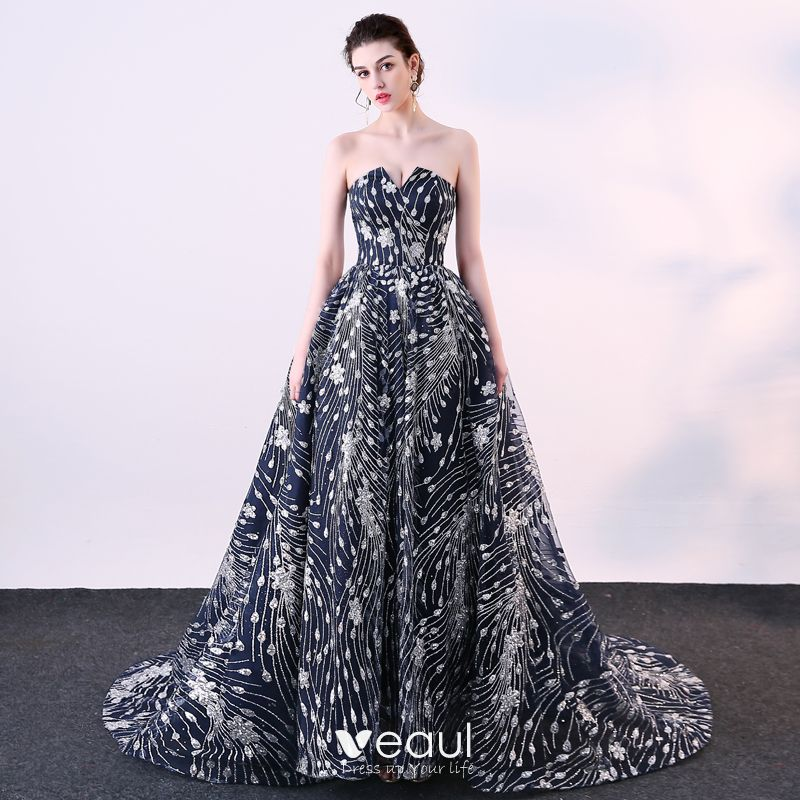 Sparkly Navy Blue Formal Dresses 2018
