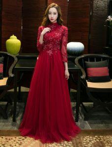 Robe De Soirée Brillantes 2017 Haute Encolure Applique Dentelle Bourgogne Tulle Robe Chinoise De Style Long