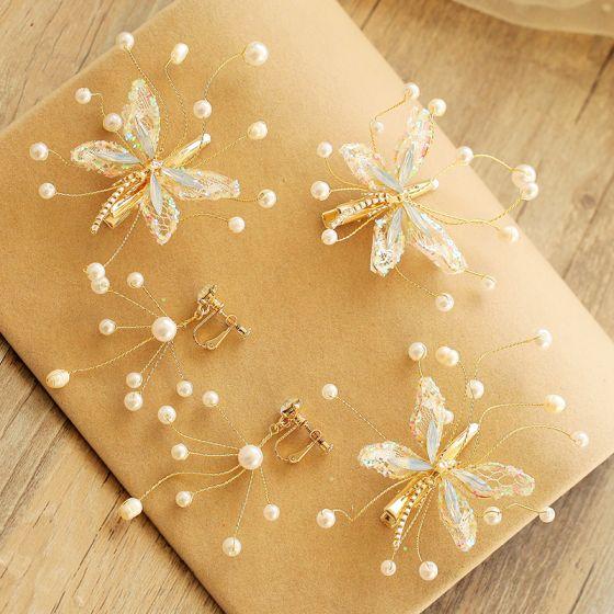 Romantisch Heerlijk Goud Oorbellen Haaraccessoires 2020 Kralen Parel Rhinestone Vlinder Huwelijk Gala Accessoires