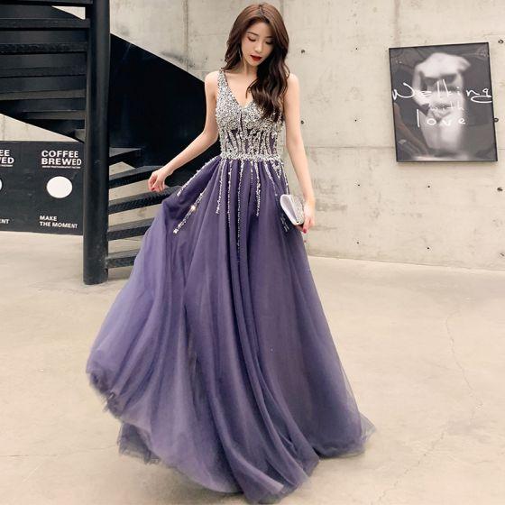 Uroczy Fioletowe Sukienki Wieczorowe 2020 Princessa V-Szyja Frezowanie Cekiny Bez Rękawów Bez Pleców Długie Sukienki Wizytowe