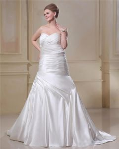 Satin Ruffle Sweetheart Semi Cathedral Train Plus Size Bridal Gown Wedding Dresses