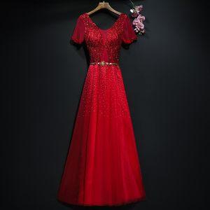 Scintillantes Rouge Robe De Soirée 2017 Princesse Métal Ceinture Paillettes Dos Nu V-Cou Manches Courtes Longue Robe De Ceremonie