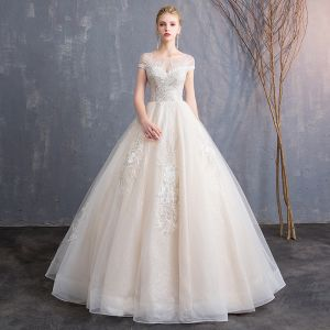 Affordable Champagne See-through Wedding Dresses 2019 A-Line / Princess Scoop Neck Short Sleeve Backless Appliques Lace Beading Glitter Tulle Floor-Length / Long Ruffle