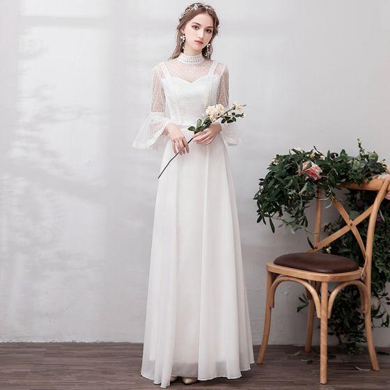 Enkla Elfenben Chiffong Stranden Bröllopsklänningar 2019 Prinsessa Genomskinliga Hög Hals Bell ärmar Prickig Tyll Långa