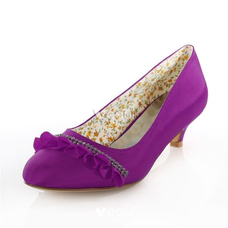 Bridal Shoes Elegant: Elegant Red Bridal Shoes Satin Kitten Heel Pumps