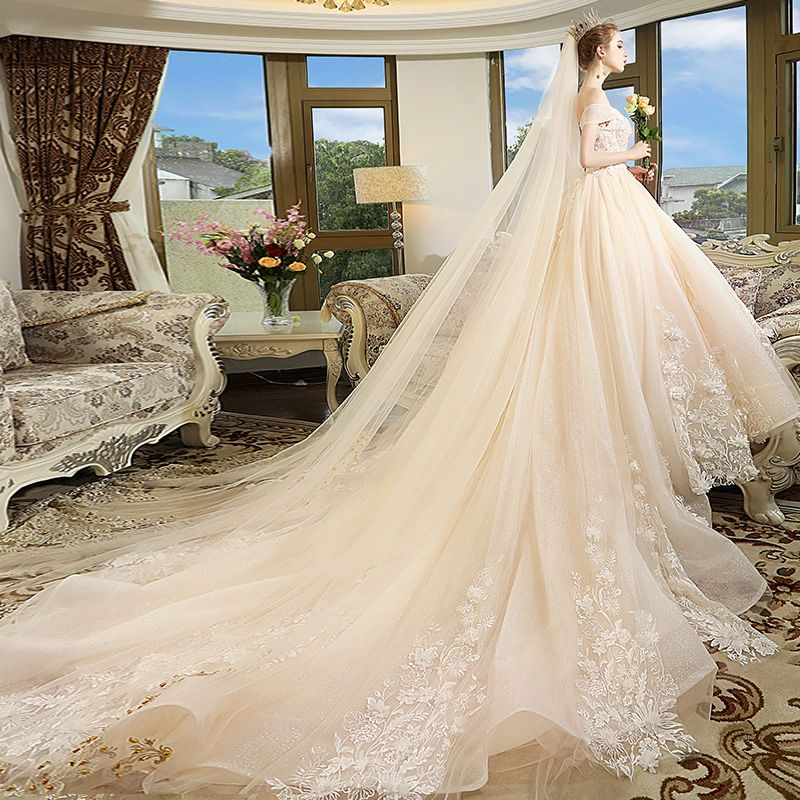 Chic / Beautiful Champagne Wedding Dresses 2018 Ball Gown Off-The-Shoulder Short Sleeve Backless Appliques Lace Pearl Glitter Tulle Cathedral Train Ruffle