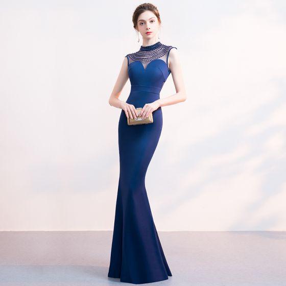 Schöne Marineblau Abendkleider 2019 Meerjungfrau Perlenstickerei Rundhalsausschnitt Ärmellos Lange Festliche Kleider