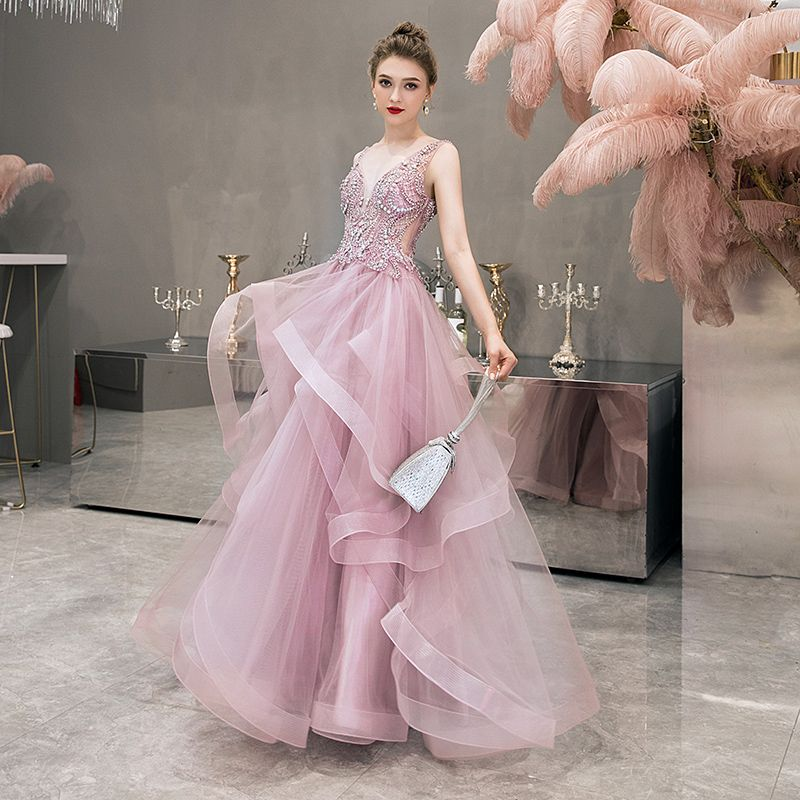 Illusion Blushing Pink Evening Dresses  2019 A-Line / Princess Deep V-Neck Sleeveless Pearl Rhinestone Beading Floor-Length / Long Cascading Ruffles Backless Formal Dresses