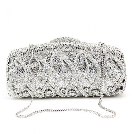 Luxe Zilveren Handtassen Metaal Kralen Doorboord Rhinestone Handgemaakt Huwelijk Feest Avond Accessoires 2019