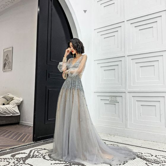 Charming Champagne Grey See-through Evening Dresses  2020 A-Line / Princess Deep V-Neck Puffy Long Sleeve Handmade  Beading Court Train Ruffle Backless Formal Dresses