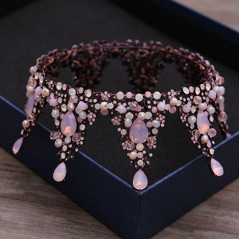 Classic Elegant Candy Pink Bridal Jewelry 2017 Metal Beading Crystal Rhinestone Headpieces Wedding Prom Accessories