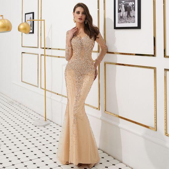 6d19a14b5a1f Luxus Guld Gennemsigtig Selskabskjoler 2019 Havfrue V-Hals Langærmet Pailletter  Rhinestone Beading Feje tog Kjoler