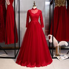 Affordable Chinese style Burgundy Evening Dresses  2020 A-Line / Princess High Neck Beading Lace Flower Long Sleeve Backless Floor-Length / Long Formal Dresses