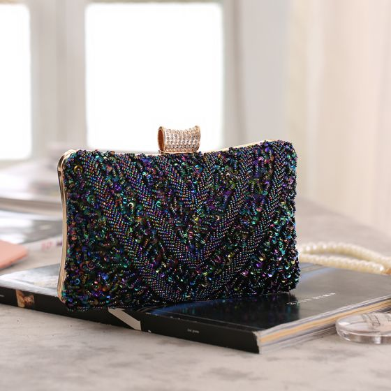 Fabulous Multi-Colors Beading Sequins Square Clutch Bags 2020