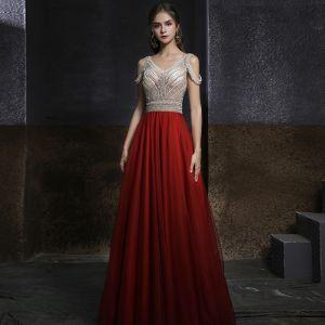 Två tonig Champagne Röd Dansande Balklänningar 2020 Prinsessa V-Hals Korta ärm Beading Rhinestone Långa Ruffle Halterneck Formella Klänningar