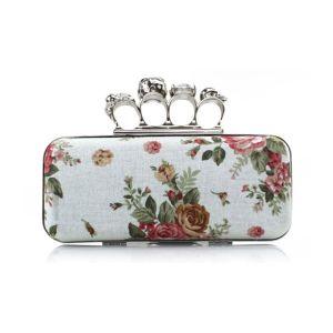 Populaire Katoen Afdrukken Banket Clutch Tas Bag Skull Ring Pakket