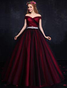 Elegante Prom Dress 2016 De Schouder Ruglooze Bordeaux Formele Jurk Met Pailletten Strass