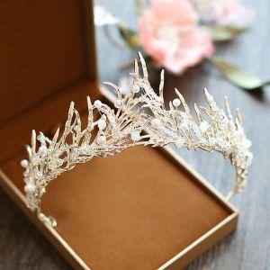 Elegant 2017 Gold Rhinestone Metal Tiara Bridal Jewelry