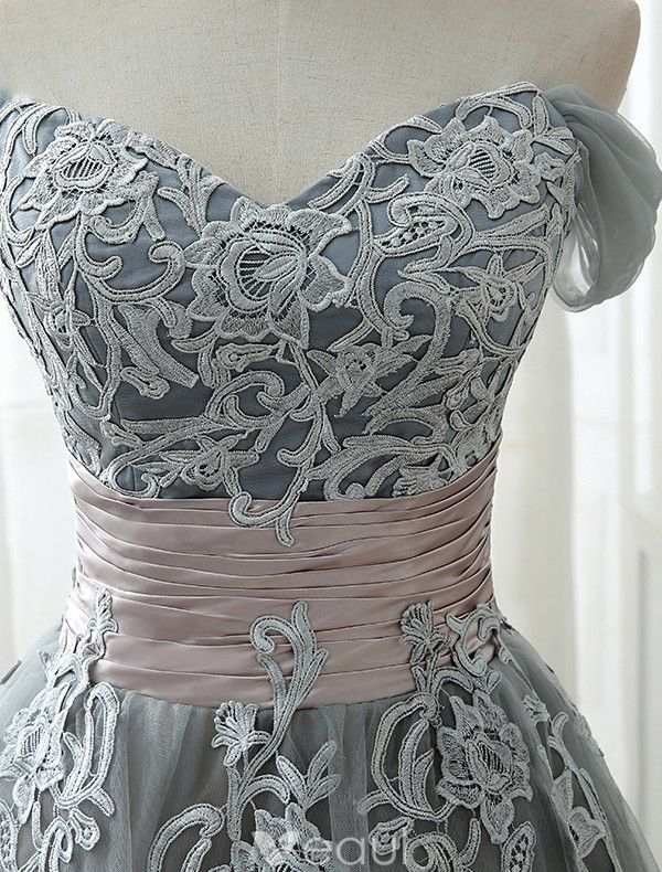 Elegant Prom Dresses 2017 Off The Shoulder Applique Lace Ruffled Satin Sash Grey Tulle Tea-length Dress