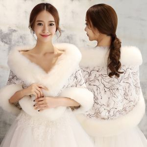 White Winter Embroidered Faux Fur Prom Wedding Shawls 2017