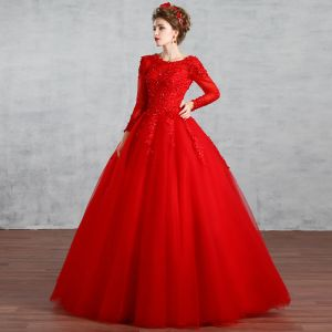 Chic / Beautiful Muslim Red Wedding Dresses 2019 Ball Gown Scoop Neck Lace Flower Rhinestone Sequins Long Sleeve Backless Floor-Length / Long