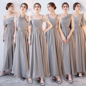 Modest / Simple Grey Chiffon Bridesmaid Dresses 2018 A-Line / Princess Sash Ankle Length Ruffle Backless Wedding Party Dresses
