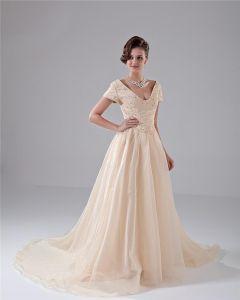 Empire V-Neck Chapel Train Elegant Chiffon Beading Prom Dress