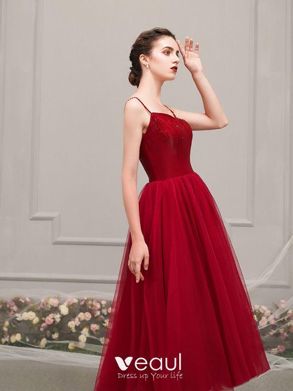 Hermoso Rojo De Fiesta Vestidos De Graduación 2019 A Line Princess Spaghetti Straps Sin Mangas Rebordear Té De Longitud Ruffle Sin Espalda Vestidos