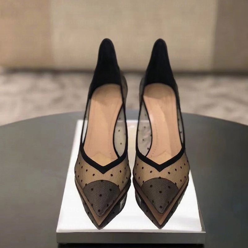 Luxury / Gorgeous Black Evening Party Pumps 2019 Leather Spotted 6 cm Stiletto Heels Pointed Toe Pumps