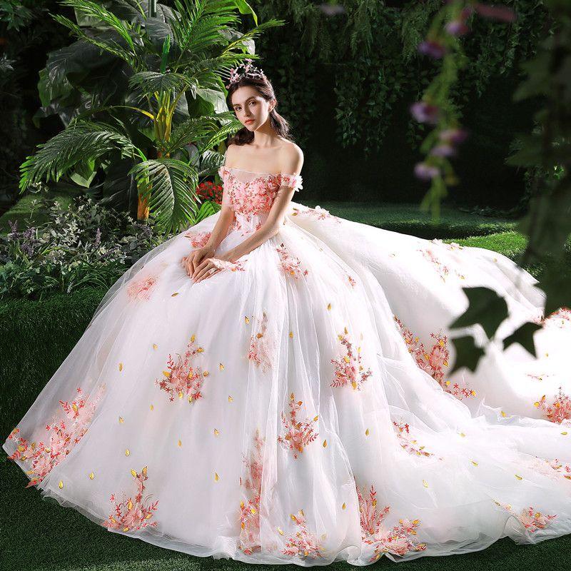 Schöne Weiß Brautkleider 2018 Ballkleid Applikationen Pearl Rosa Blumen Kristall Perle Pailletten Off Shoulder Rückenfreies Ärmellos Kathedrale Schleppe Hochzeit