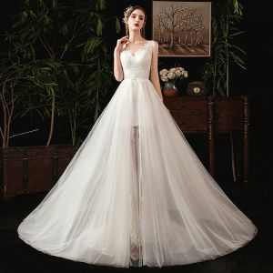 Elegant Ivory Summer Wedding Dresses 2019 Trumpet / Mermaid V-Neck Sleeveless Backless Appliques Lace Detachable Court Train Ruffle