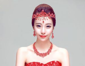 Red Bridal Jewellery Necklace / Earrings / Tiara Three-piece