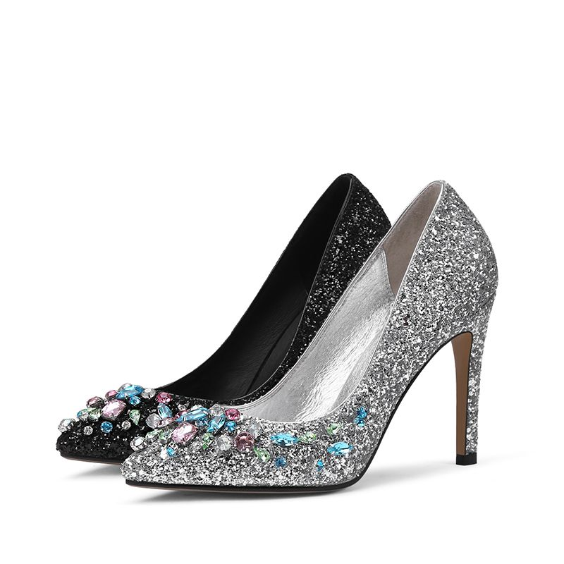 Sparkly Evening Party Pumps 2017 Prom PU Rhinestone Sequins High Heels Pointed Toe Pumps