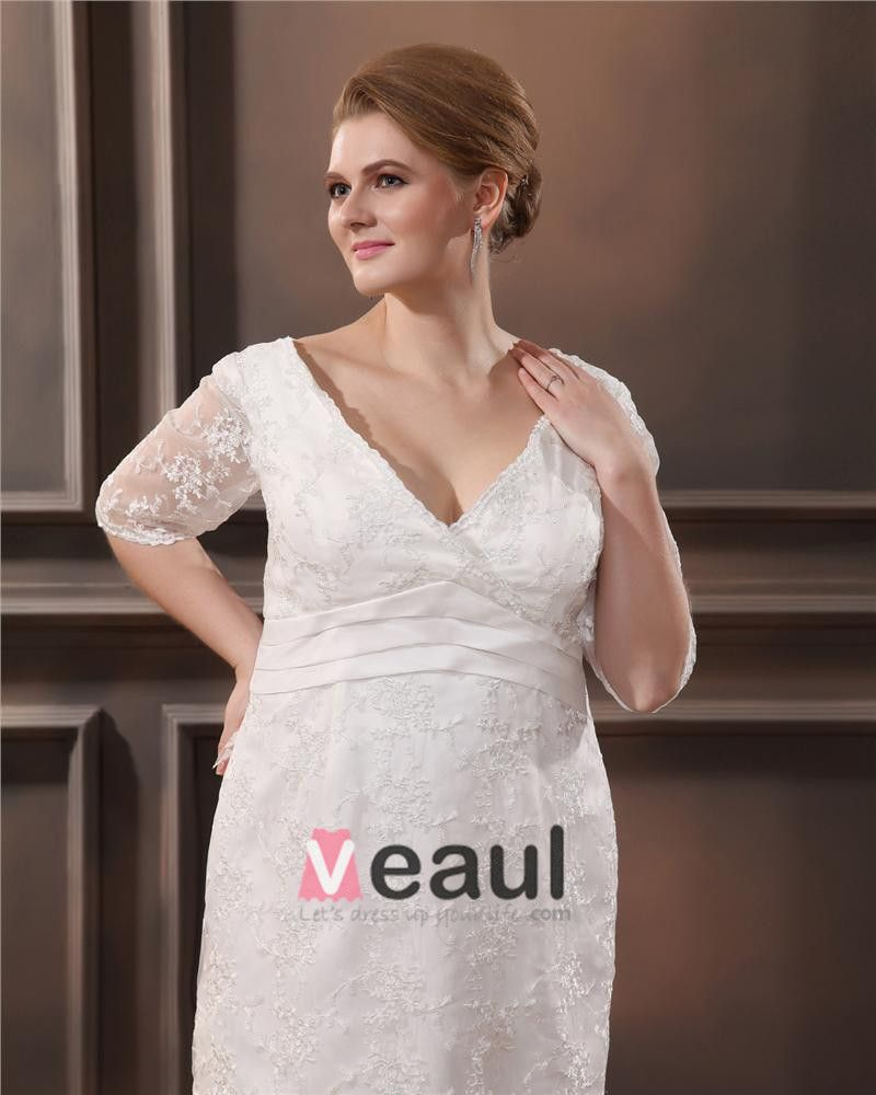 Lace V Neck Three Quarter Sleeve Plus Size Bridal Gown Wedding Dresses