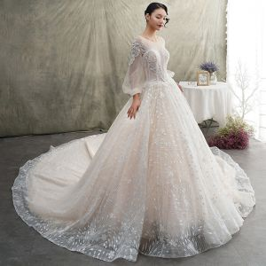 Luxury / Gorgeous Champagne See-through Wedding Dresses 2019 A-Line / Princess Scoop Neck Puffy Long Sleeve Backless Glitter Tulle Appliques Lace Beading Cathedral Train Ruffle