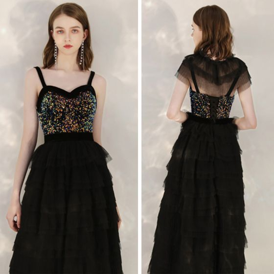 Moda Czarne Cekiny Homecoming Sukienki Na Studniówke Z Szalem 2020 Princessa Plecy Bez Rękawów Długość Herbaty Kaskadowe Falbany Bez Pleców Sukienki Wizytowe