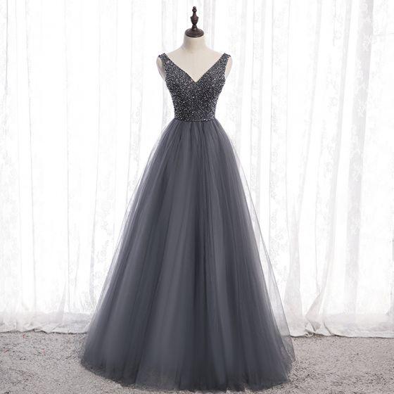 Chic / Belle Gris Robe De Bal 2020 Princesse V-Cou Perlage Cristal Sans Manches Dos Nu Longue Robe De Ceremonie